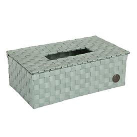 image-Tissue Box Cover Handed By Colour: Greyish Green