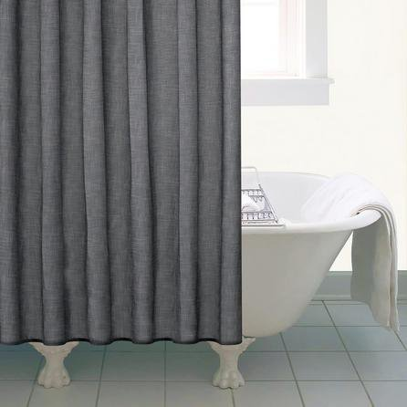 image-Grey Slub Print Shower Curtain Grey