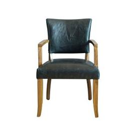 image-Epping PU Leather Arm Chair In Ink Blue With Wooden Frame