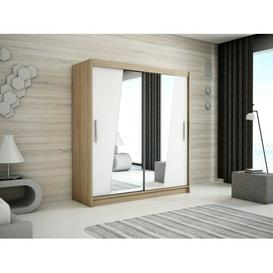 image-Rhomb 2 Door Sliding Corner Wardrobe Minio Size: 200cm H x 200cm W, Finish: Oak/Matt White