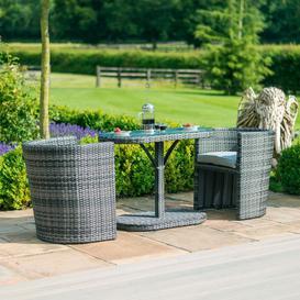 image-Maze Rattan Flat Weave Balcony Grey Bistro Set