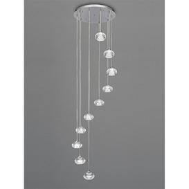 image-F2343/10 Lizzy 10 Light Ceiling Pendant In Chrome With Clear Modern Effect Glass Shades