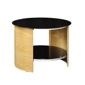 image-Jual San Marino Oak Furniture Round Lamp Table with Tempered Glass