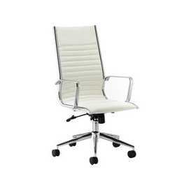 image-Barcelo High Back Leather Faced Executive Chair, White, Free Standard Delivery