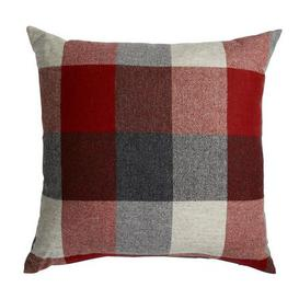 image-Large Heritage Check Red Cushion Red