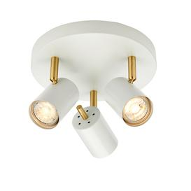 image-Quinn 3.5W LED adjustable 3-spotlight round plate in matt white and brushed brass, bulbs included - 90326.