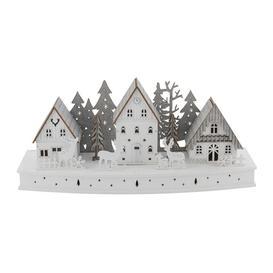 image-Festive 44cm Wooden Lit Christmas Reindeer Scene
