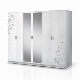 image-Mayon Mirrored 6 Doors Wardrobe In Flower Pattern White Gloss