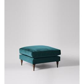 image-Swoon Milward Ottoman in Kingfisher Easy Velvet With Dark Feet