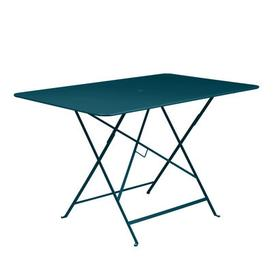 image-Bistro Foldable table - / 117 x 77 cm - 6 people - Parasol hole by Fermob Acapulco blue