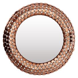 image-Templar Copper Finish Iron and Mirrored Pebble Effect Wall Mirror