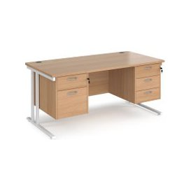image-Value Line Deluxe C-Leg Rectangular Desk 2+3 Drawers (White Legs), 160wx80dx73h (cm), Beech, Free Delivered & Fully Installed Delivery