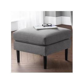image-Monza Linen Upholstered Ottoman In Grey