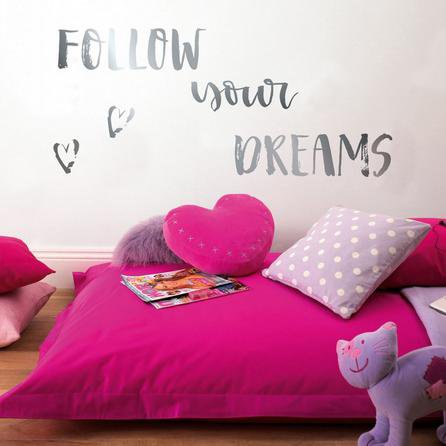 image-Follow Your Dreams Metallic Wall Stickers Silver