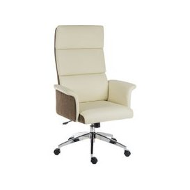 image-Panache High Back Executive Leather Chair Cream, Cream, Free Standard Delivery