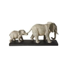 image-Figurine with 2 Grey Elephants on a Black Metal Base H21