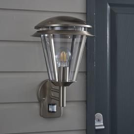 image-Erra Ike Outdoor Wall Lantern with Motion Sensor Sol 72 Outdoor Fixture Finish: Brushed Stainless Steel