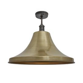image-Brooklyn Giant 1-Light Semi Flush Mount Industville Fixture Finish: Pewter, Shade Colour: Brass