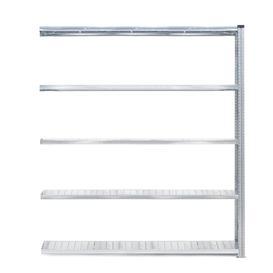 image-Galvanised shelving TRANSFORM, add-on unit, 5 shelves, 2500x1800x400 mm