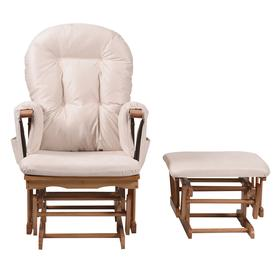 image-Kub Haywood Reclining Glider Nursing Chair and Footstool, Beige