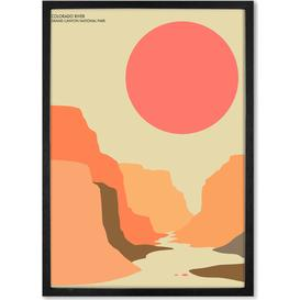 image-Grand Canyon Landscape Travel Poster Framed Wall Art Print, Multi (More Sizes Available)