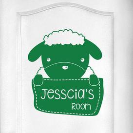 image-Personalised Sheep Kids Door Room Wall Sticker
