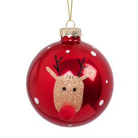 image-Glass Christmas Bauble with Reindeer Print and Red Pom Pom