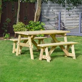 image-Sol 72 Outdoor Wooden Picnic Bench Sol 72 Outdoor Finish: Light Green, Table Size: 120cm L x 142cm W