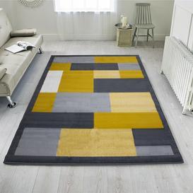 image-Yellow Grey Modern Geometric Bedroom Rugs - Milan