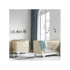image-Vox Playwood Cot Bed 2 Piece Nursery Furniture Set - Birch