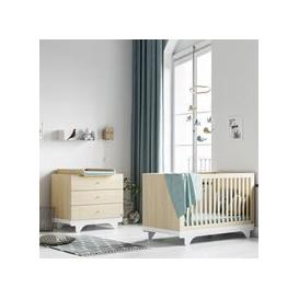 image-Vox Playwood Cot Bed 2 Piece Nursery Furniture Set - Birch