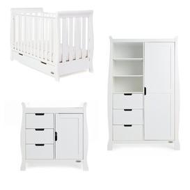 image-Stamford Mini Cot 3-Piece Nursery Furniture Set Obaby Colour: White