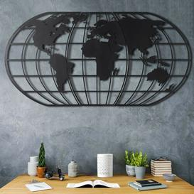 image-World Map Globe Wall Décor Brayden Studio Finish: Black