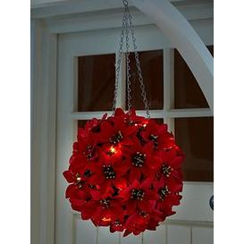 image-Three Kings 30 Cm Light Up Poinsettia Ball Outdoor Christmas Decoration