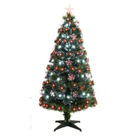 image-150cm (5 Foot) Red & White Fibre Optic 170 Tips Christmas Tree