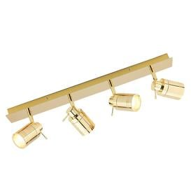 image-Hugo 4 Light Bathroom Ceiling Spotlight Bar - Brass