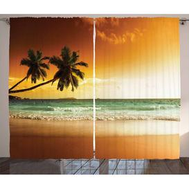 image-Tropical Pencil Pleat Blackout Thermal Curtains East Urban Home Dimensions per curtain: 140 W x 225 D cm