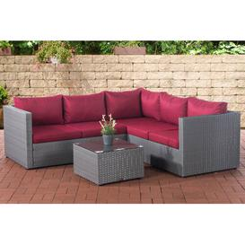 image-Furtado 3 Seater Rattan Effect Sofa Set Mercury Row Frame colour: Grey, Upholstery colour: Ruby