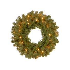 """image-Downswept Douglas 'Feel Real' Pre-Lit PE/PVC Artificial Christmas Wreath 24"""" by National Trees"""