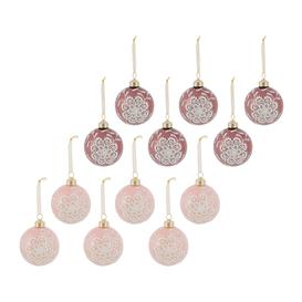 image-A by AMARA Christmas - Lace & Pearl Baubles - Set of 12 - Velvet Pink/Blush Pink