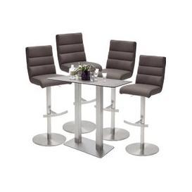 image-Soho Glass Bar Table With 4 Hiulia Brown Stools