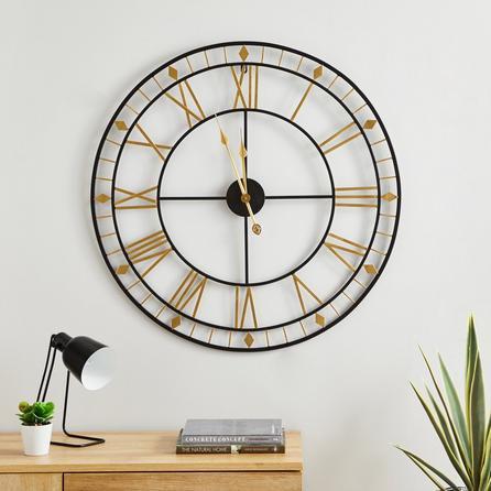 image-Brass Skeleton 80cm Wall Clock Gold Brass