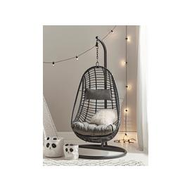 image-Slim Black Hanging Chair