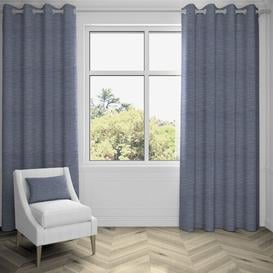 image-Agapanthus Hamleton Textured Eyelet Blackout Thermal Curtains Ebern Designs Colour: Navy Blue, Panel Size: 228 W x 228 D cm