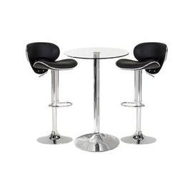 image-Gino Bistro Bar Table With 2 Black Leather Nigella Stools