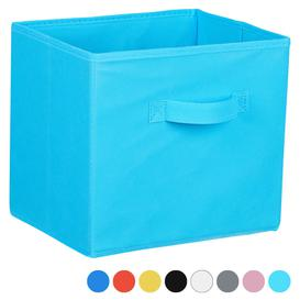 image-Hartleys Fabric Storage Box for 2, 3 & 4 Tier Cube Units - Light Blue