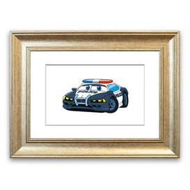 image-'Police Car Love Childrens' Framed Graphic Art East Urban Home Size: 40 cm H x 50 cm W, Frame Options: Silver