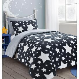 image-Teddy Stars Fleece Kids Duvet Cover Set Soft Cosy Warm Kids Stars Bedding Set