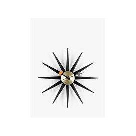image-Vitra George Nelson Sunburst Quartz Analogue Wall Clock, 47cm, Black/Brass