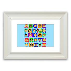 image-'Alphabet Children' Framed Graphic Art in Baby Blue East Urban Home Size: 40 cm H x 50 cm W, Frame Options: White